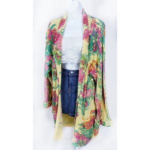 Vintage Long Yellow Floral Boho Cardigan Sweater L